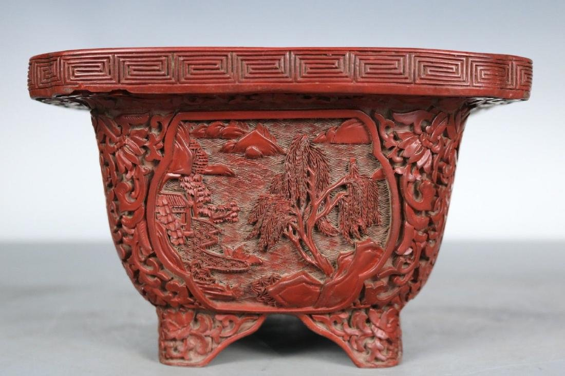 A Carved Cinnabar Lacquer Pot - 6