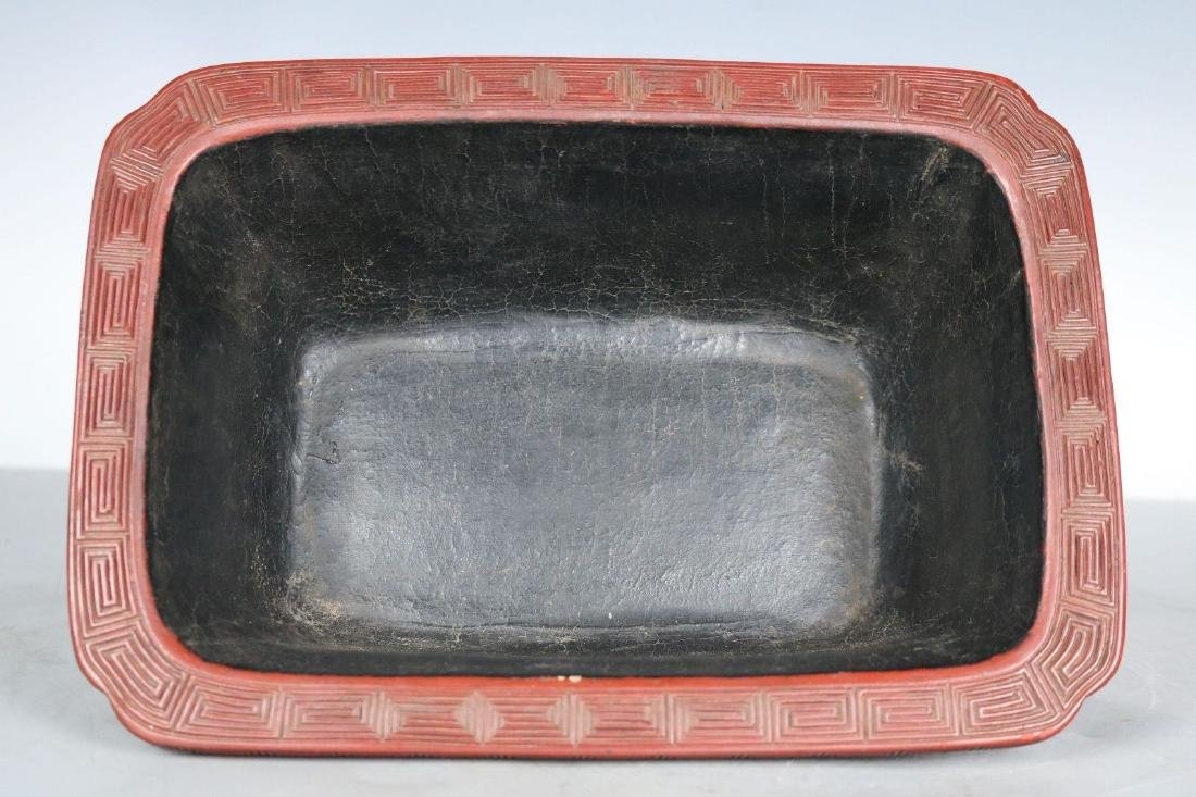 A Carved Cinnabar Lacquer Pot - 7