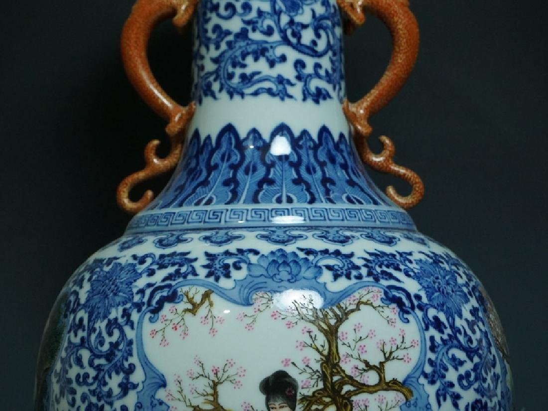 A Blue and White and Famille Rose Porcelain Vase - 4