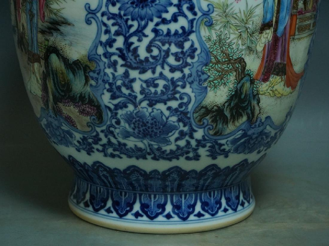 A Blue and White and Famille Rose Porcelain Vase - 7
