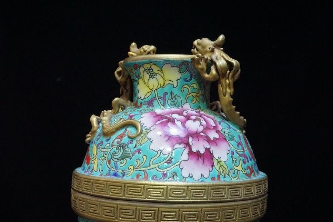 A Famille Rose and Gilt Decorated Porcelain Vase - 3