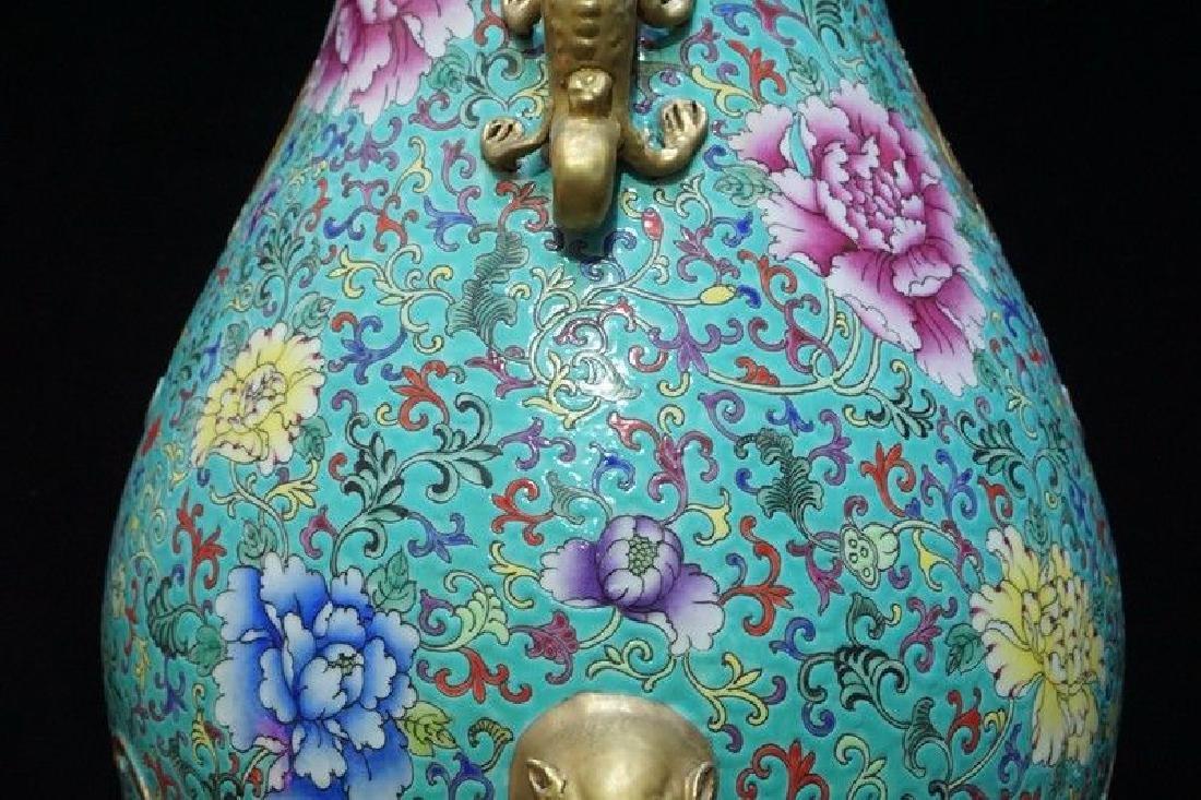 A Famille Rose and Gilt Decorated Porcelain Vase - 4