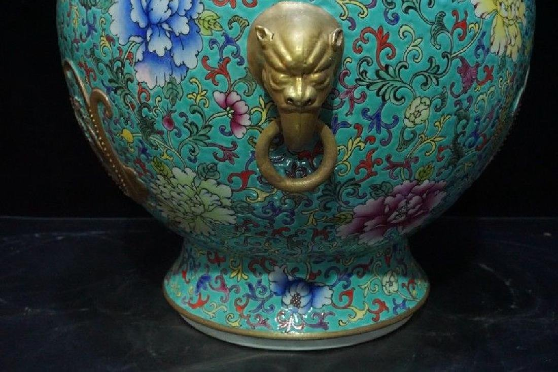 A Famille Rose and Gilt Decorated Porcelain Vase - 5