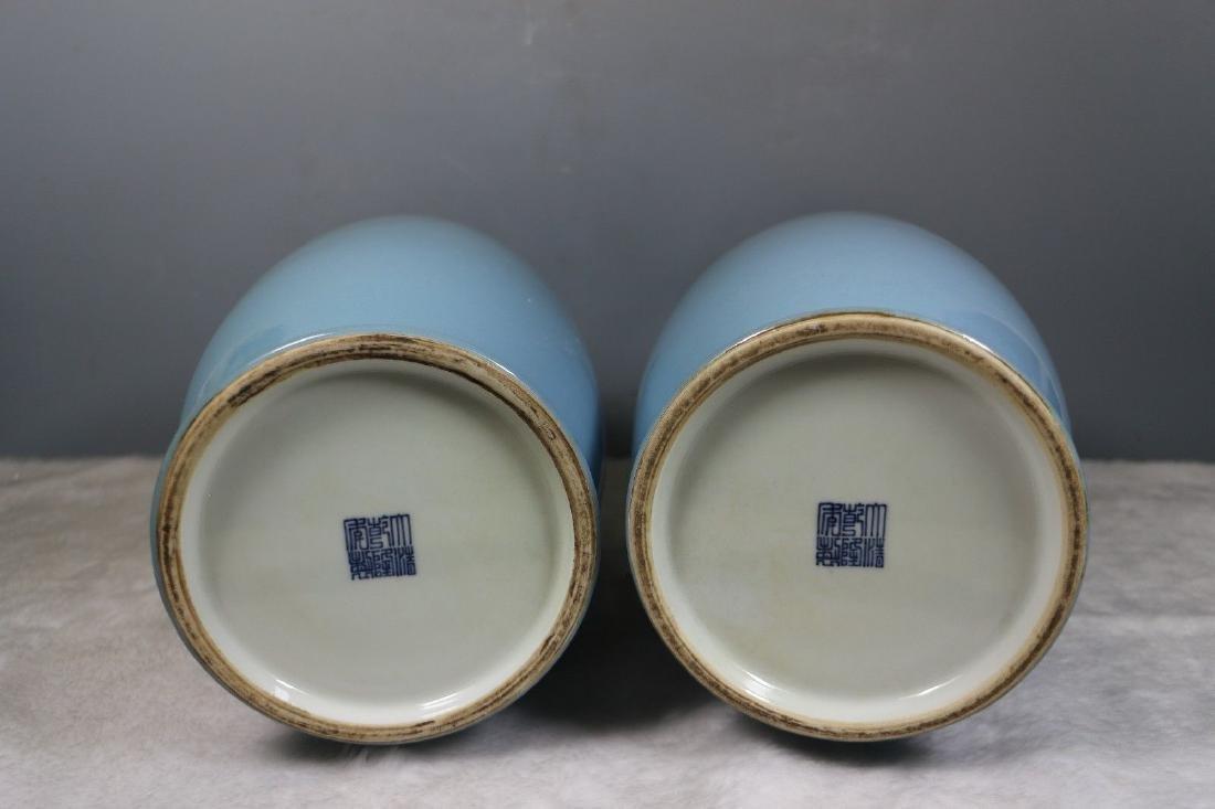 A Pair of Blue Glaze Porcelain Vases - 8