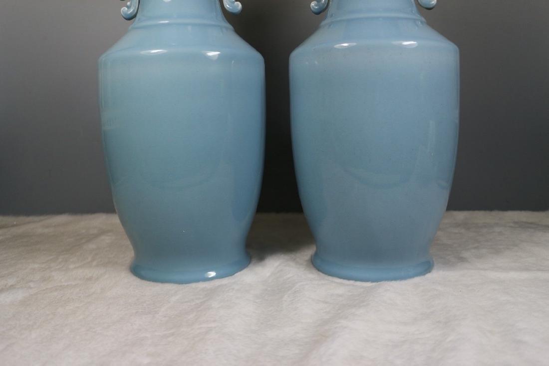 A Pair of Blue Glaze Porcelain Vases - 3
