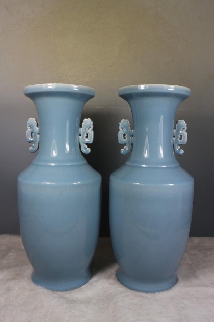 A Pair of Blue Glaze Porcelain Vases - 5