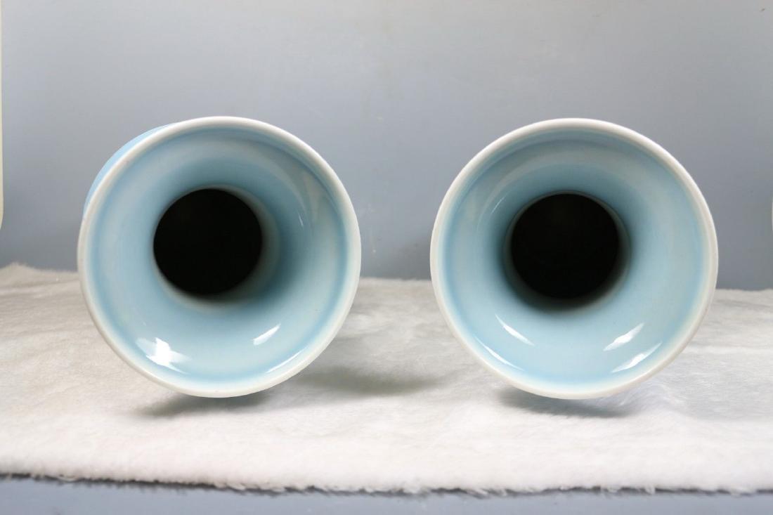 A Pair of Blue Glaze Porcelain Vases - 7