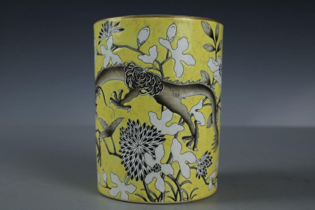 A Famille Rose Porcelain Pen Holder - 5