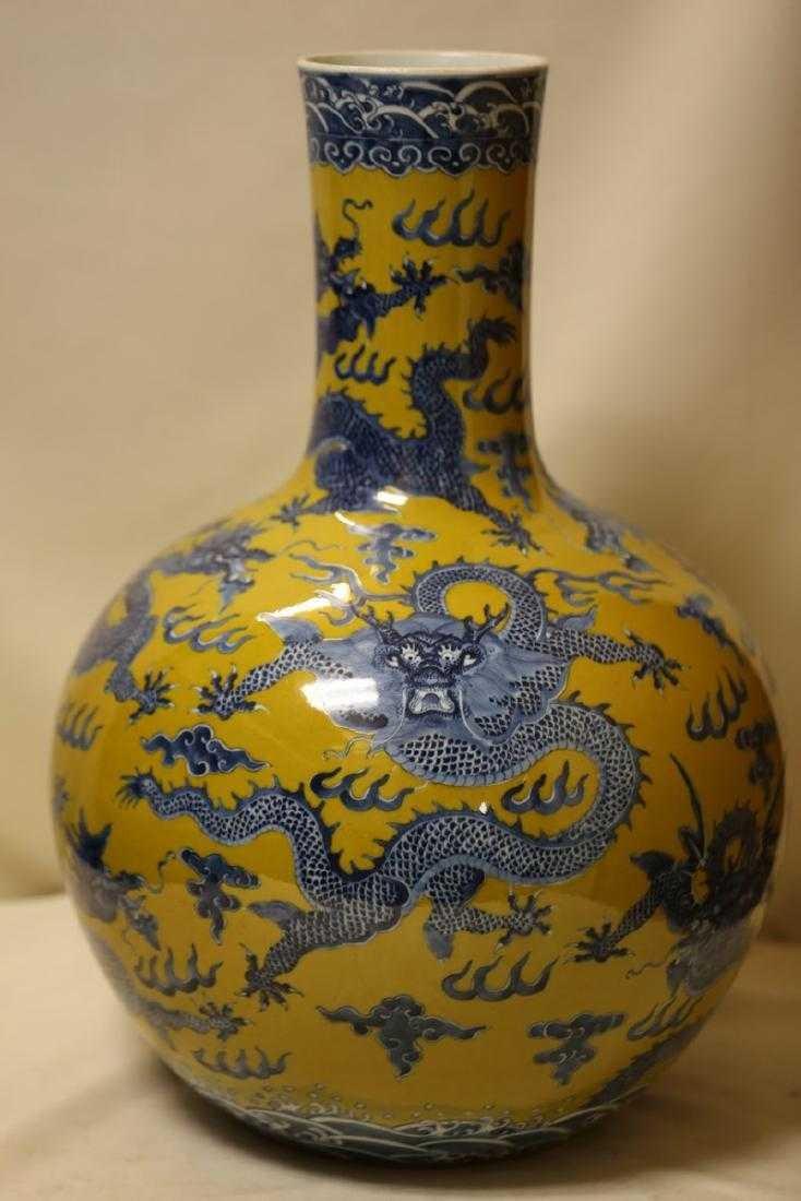 A Magnificent Blue and Yellow Glaze Porcelain Vase - 2