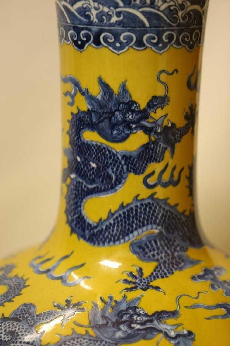 A Magnificent Blue and Yellow Glaze Porcelain Vase - 4