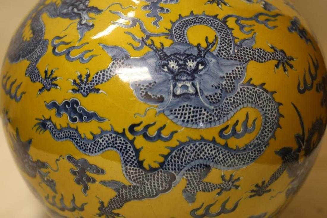 A Magnificent Blue and Yellow Glaze Porcelain Vase - 5