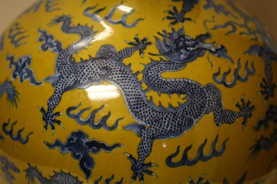 A Magnificent Blue and Yellow Glaze Porcelain Vase - 6