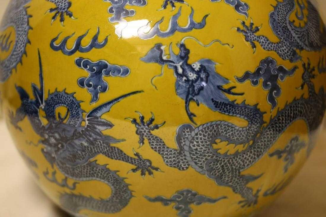 A Magnificent Blue and Yellow Glaze Porcelain Vase - 7