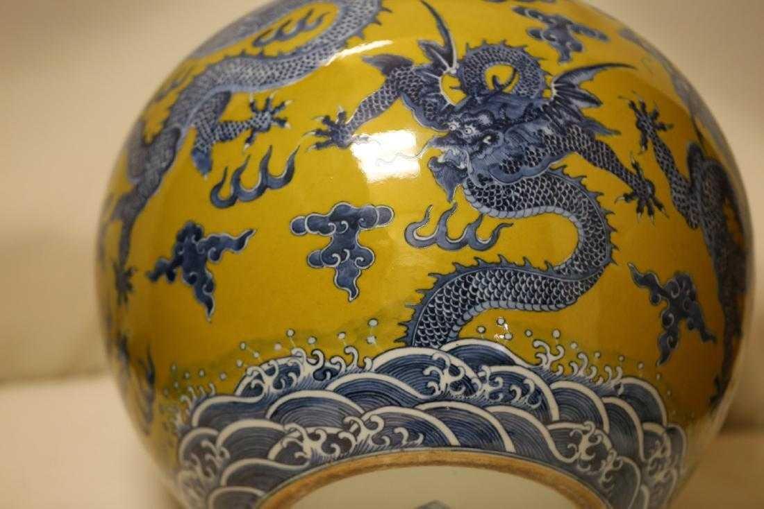 A Magnificent Blue and Yellow Glaze Porcelain Vase - 8
