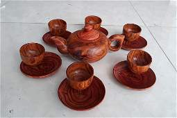A Carved Set of Tea Cup and Teapot Huanghuali Wood