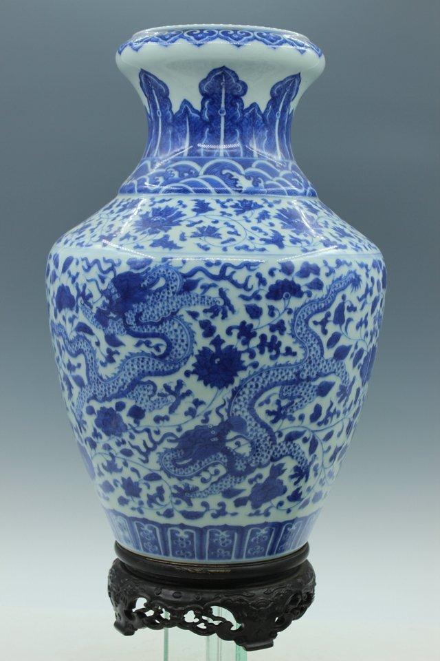A Blue and White Porcelain Dragon Vase