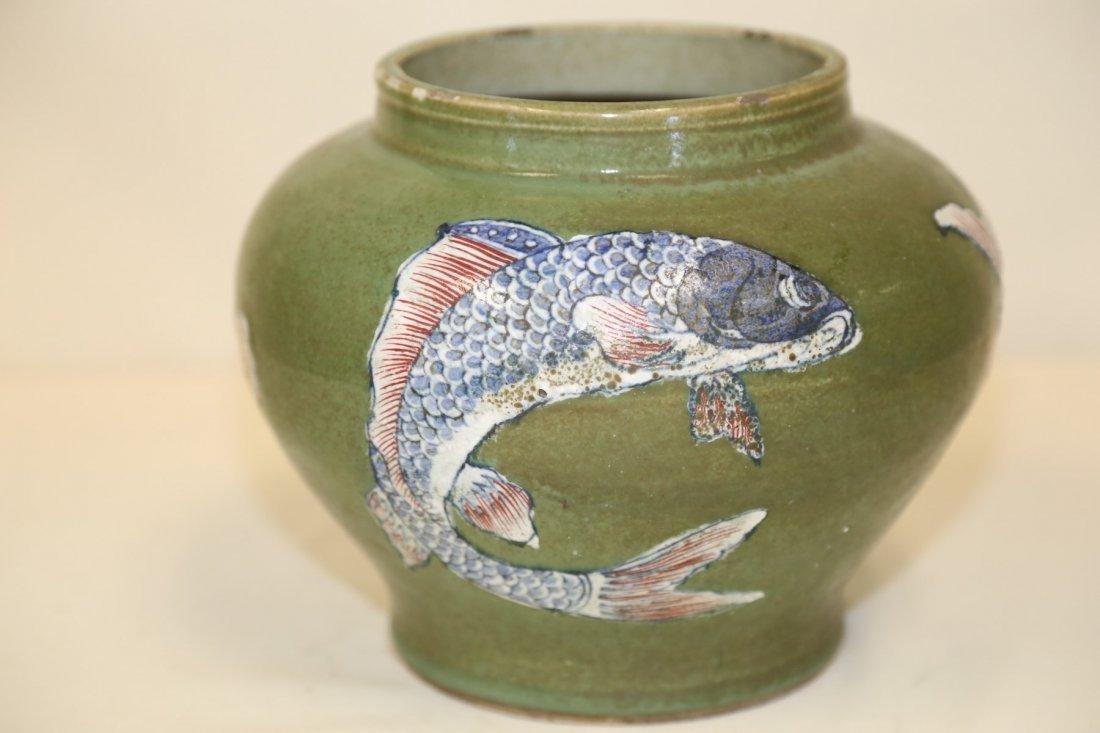 A Rare Green Ground Porcelain Fish Jar