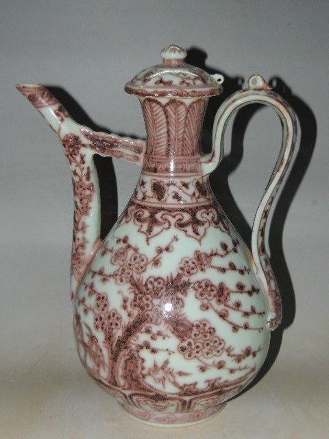 An Underglaze Copper Red Porcelain Teapot