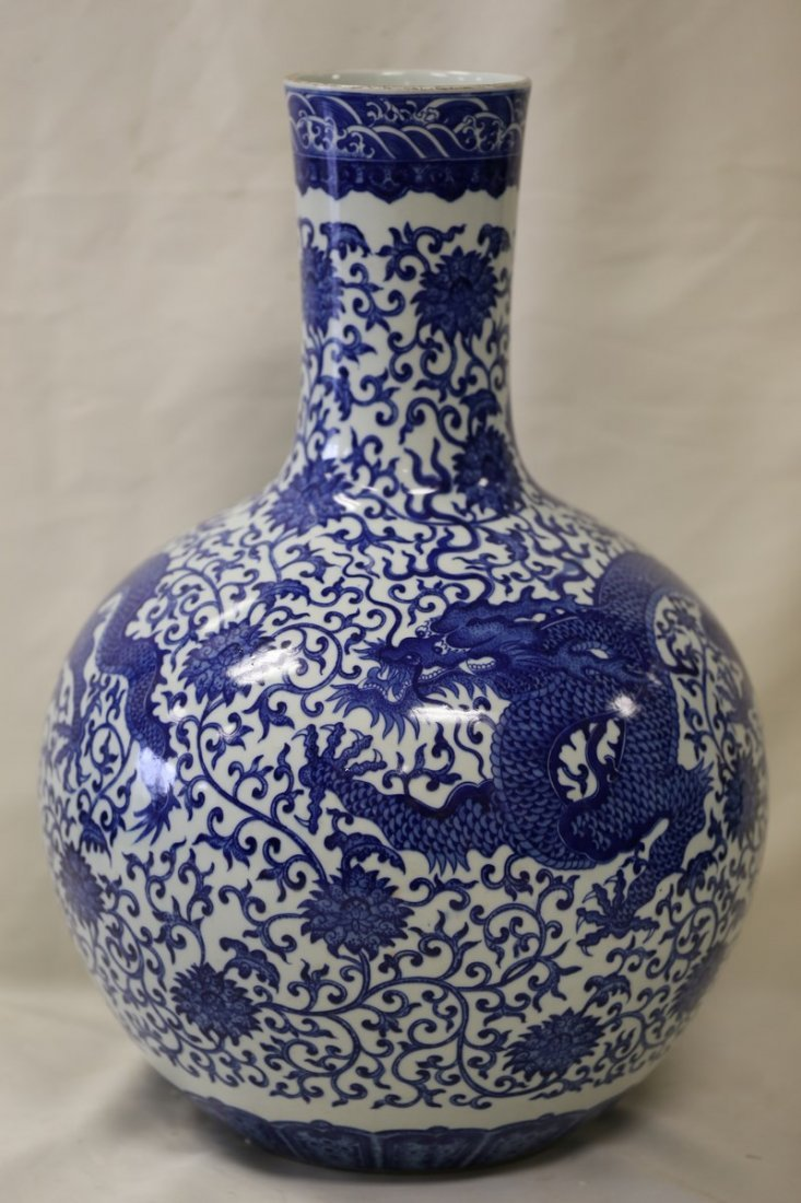 A Blue and White Dragon Bottle Vase