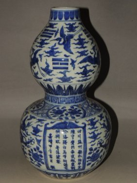 A Blue And White Double Gourd Vase