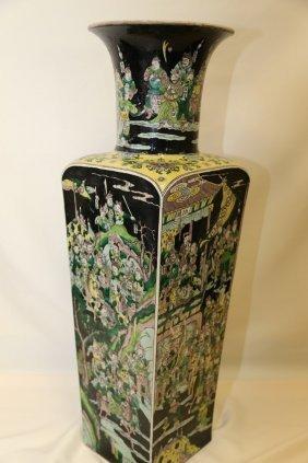 A Large Famille Noir Bisquit Porcelain Vase