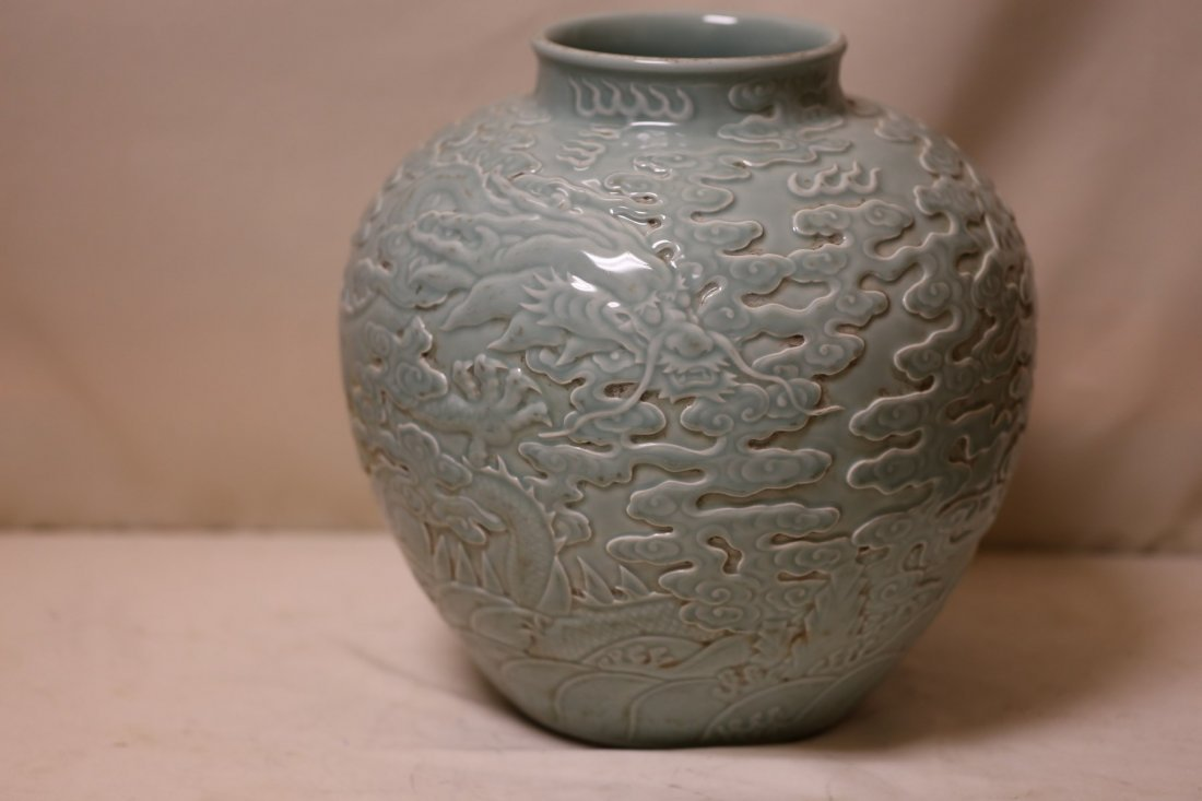 An Excellent Celadon Porcelain  Jar