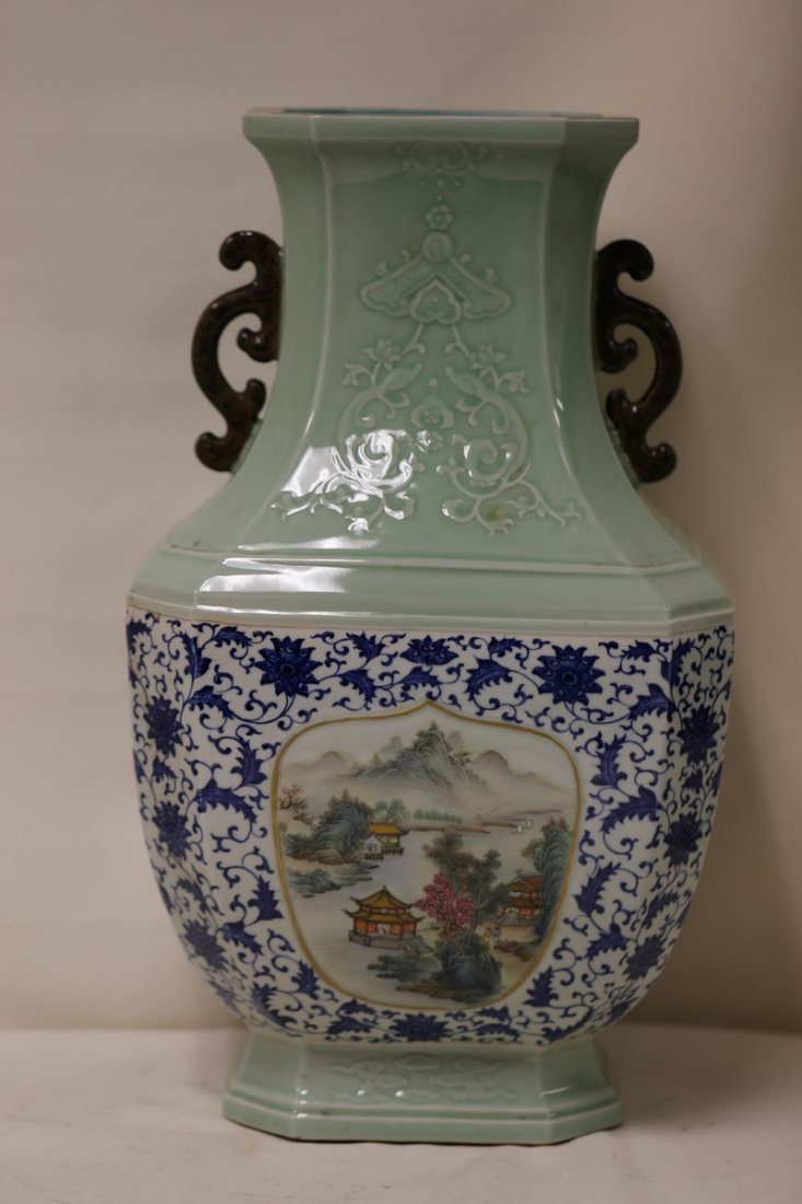 A Blue and White and Famille Rose Vase
