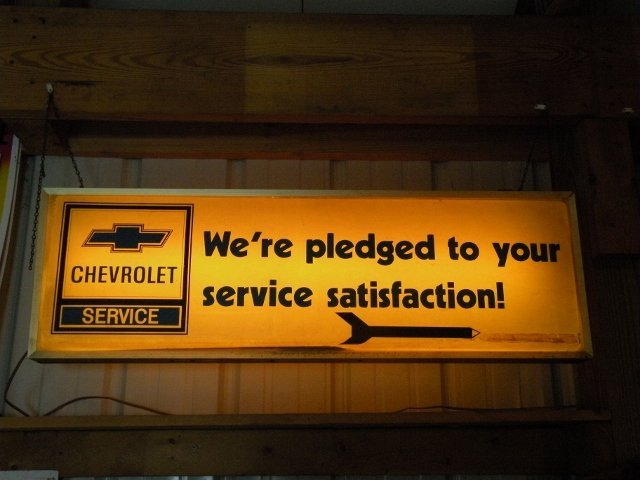 Chevrolet Lighted Auto Service Ad Sign