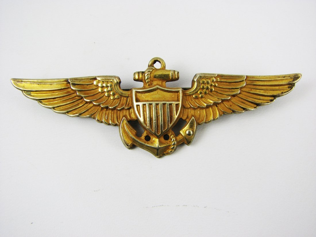 WWII Navy & Marine Gold Wings Aviator Pin Sterling