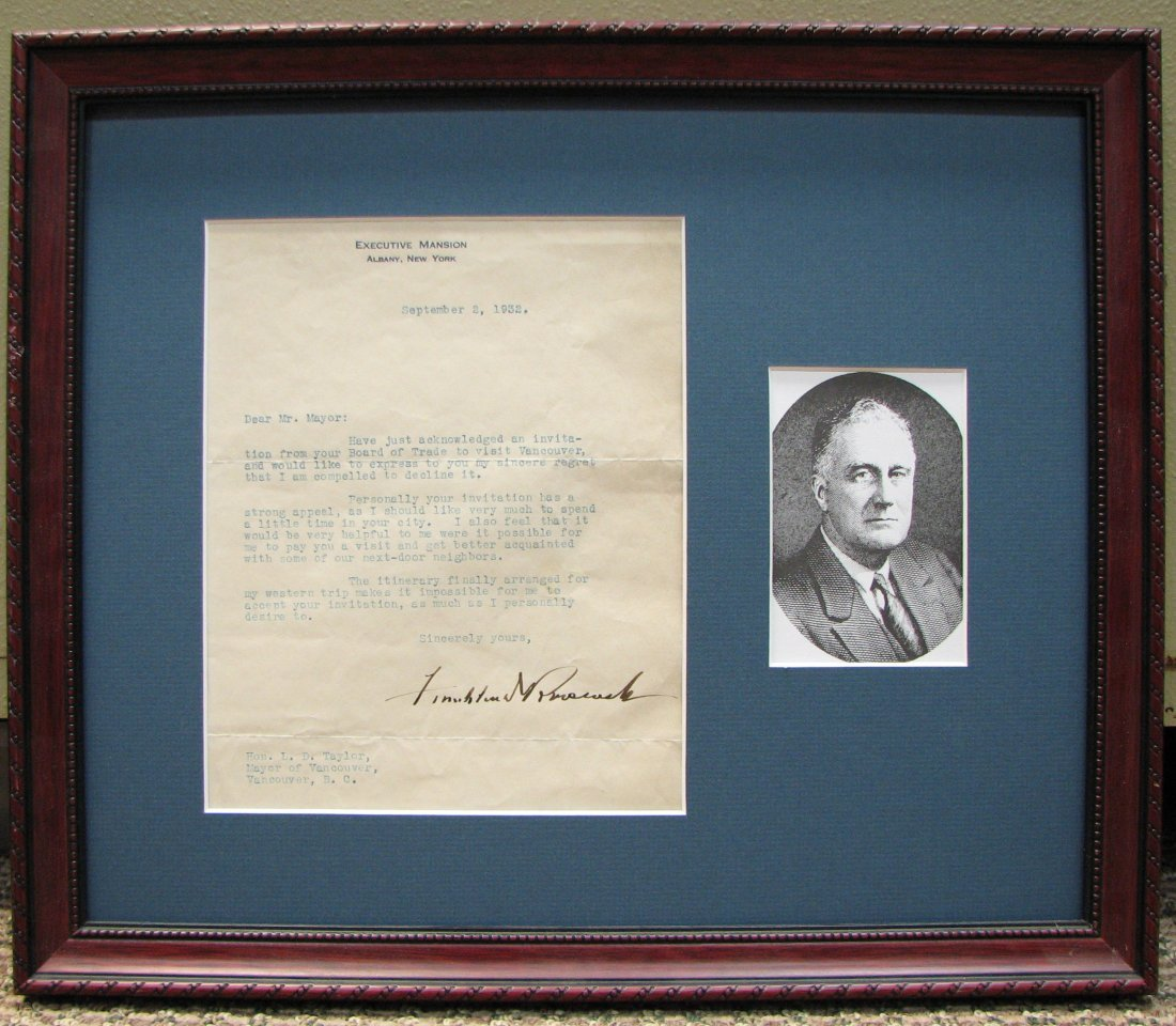 1932 Franklin D. Roosevelt Hand Signed Letter w/COA