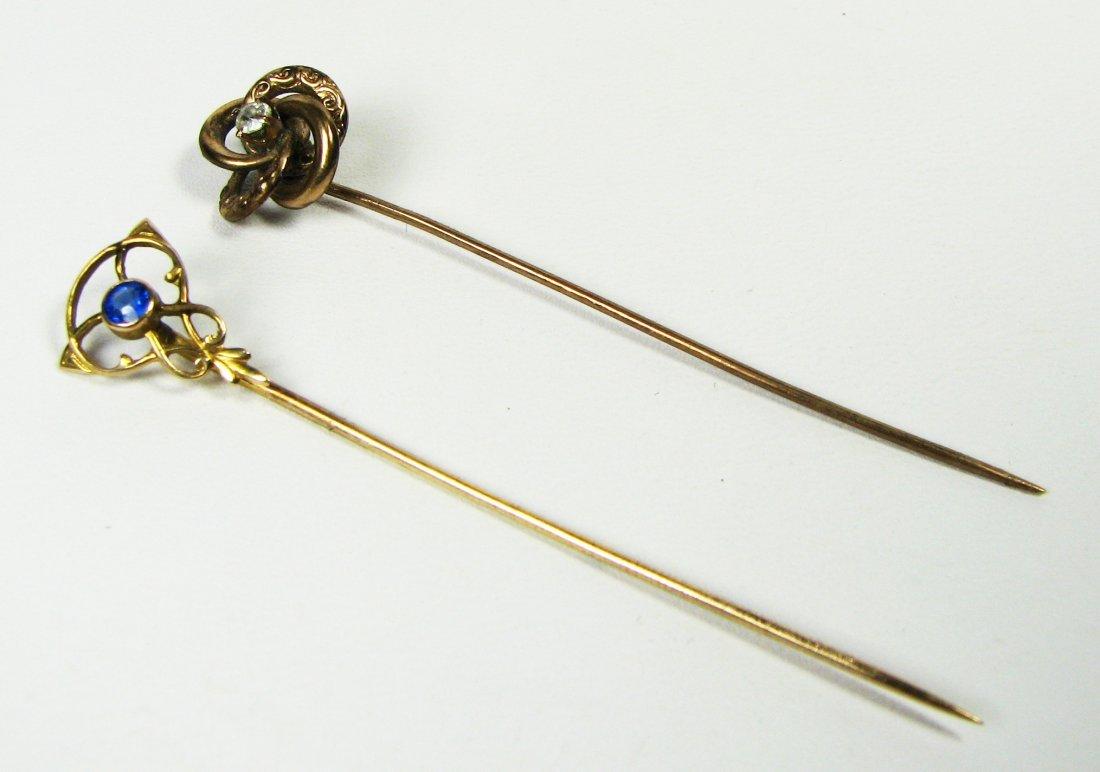 2 piece gold stick pin lot