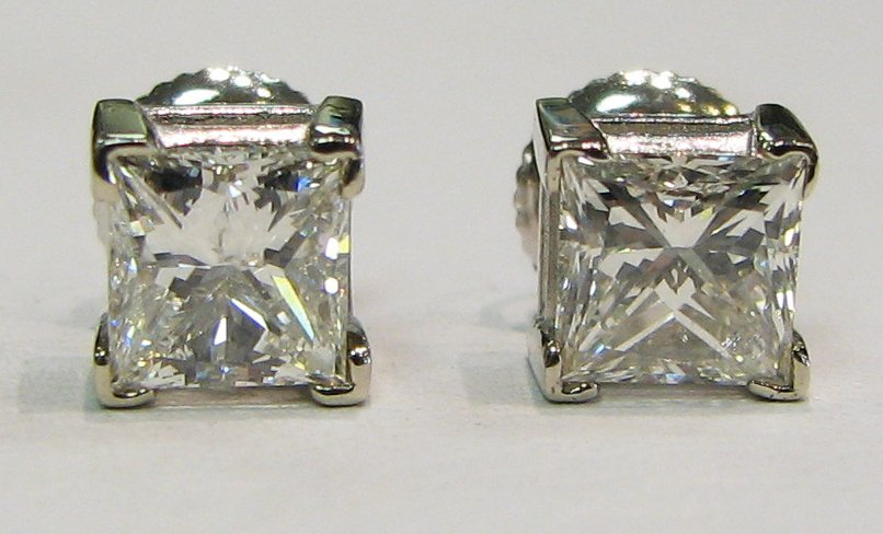 1.91cttw Princess Cut Diamond Stud Earrings
