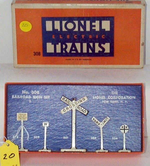 20: 308 All Metal Railroad Sign Set, OB, EX