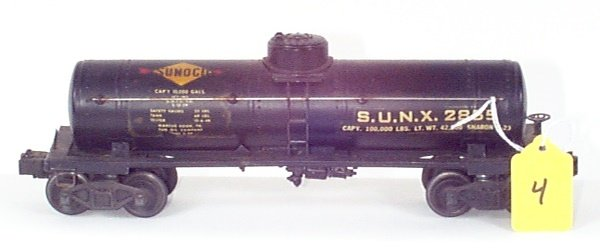 "1004: 2855 Black Sunoco Tank Car, Decal w/Large ""S"" & """
