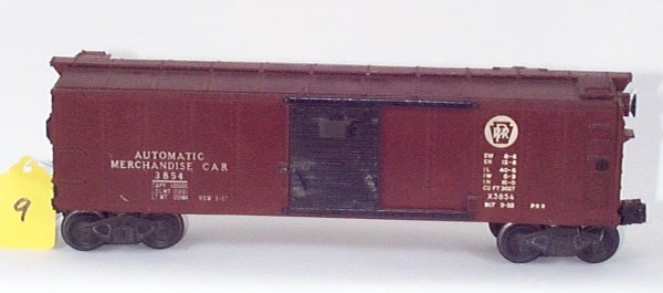 1009: 3854 PRR Opr. Merchandise Car w/Crates Inside, VG