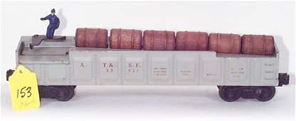 1153: 3562-1 Gray w/Red Letters Opr. Barrel Car, VG/EX