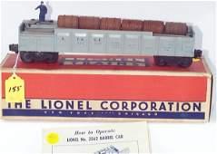 1155: 3562-25 Gray w/Blue Letters Opr. Barrel Car, OB,