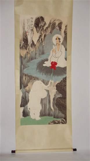 Buddha with White Elephant Attributed to Zhang Daqian