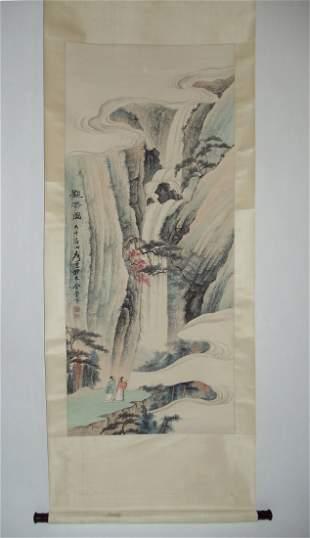 Scholars and Waterfalls Attributed to Zhang Daqian