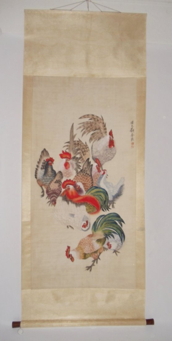 Five Roosters Attributed to Liu Kuiling