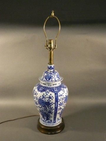 Large Chinese Blue & White Ginger Jar Lamp