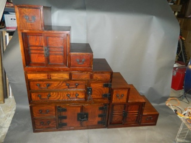Four Piece Double Sided Stackable Tansu Cabinet