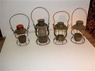Lot of 4 railroad lanterns