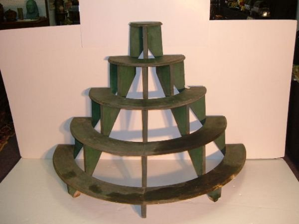 23: Early Handmade Circular Display Shelf Original Pain