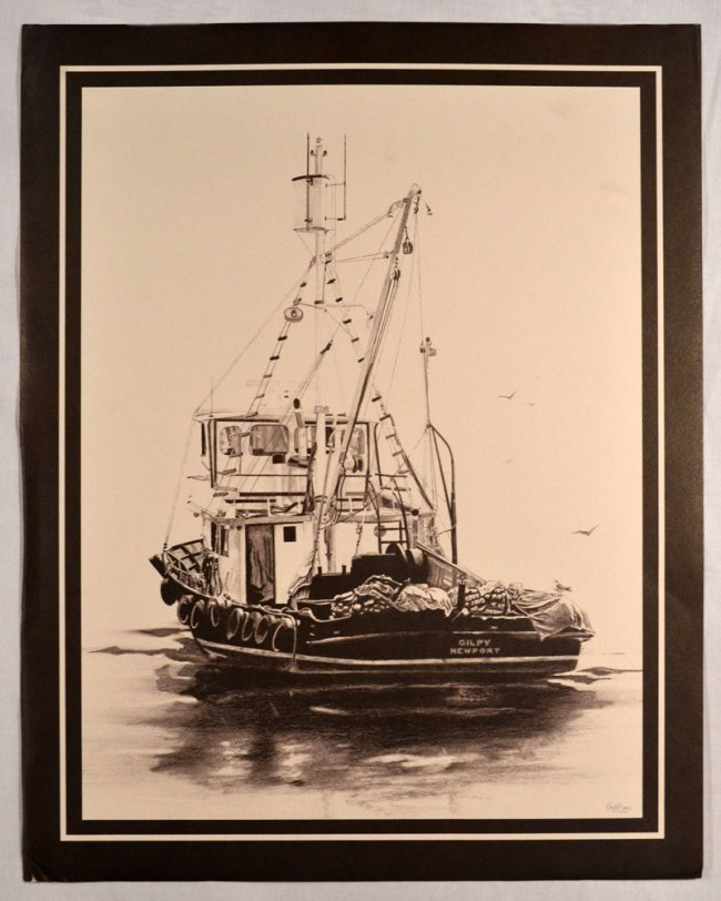 gilpin print of charcoal sketch boat on ocean