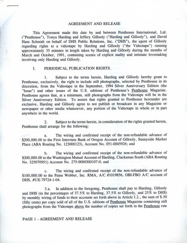 Tonya Harding's Original 1994 Contract with PENTHOUSE