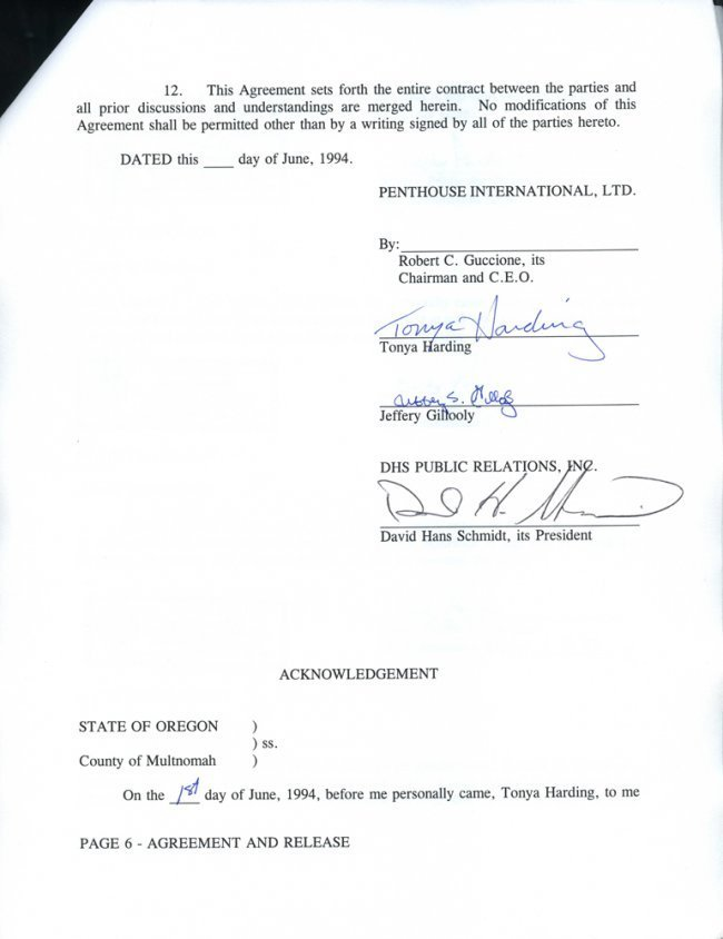 Tonya Harding's Original 1994 Contract with PENTHOUSE - 2