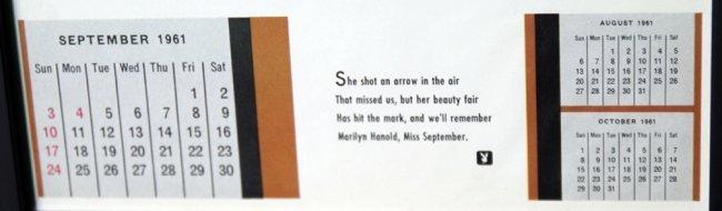 Framed Marilyn Hanold Sept 1961 Orig Playboy Cal Page - 2