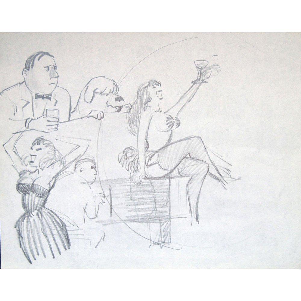 "Orig Bob Guccione 11x14 Double Sided Sketch ""Cheers"""
