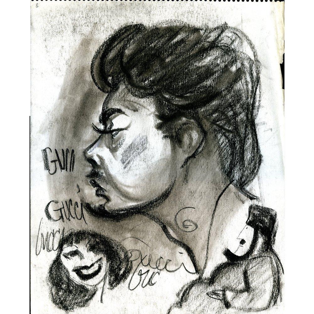 """Original Bob Guccione 11x14 Sketch """"Self Portrait"""" Dbl"""